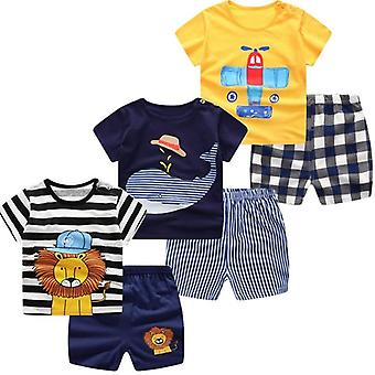 Summer Short Sleeve, Cartoon Printed T-shirts And Short Set For Babies