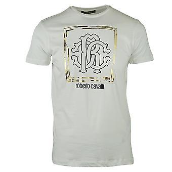 ロベルト カヴァッリ フレーム ロゴ ホワイト T シャツ