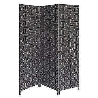 3 Panel Black Soft Fabric Finish Room Divider