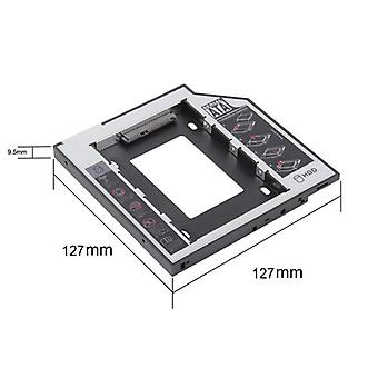 Aluminum Optibay Sata 3.0 Hard-disk Drive Box Enclosure Dvd Adapter
