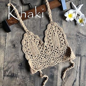 Fashion Crochet Bikini Top Sexy Hollow Out Halter V-neck Lace Tops Crochet Bra