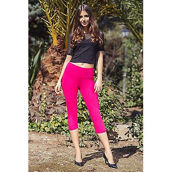 Ladies Casual Cropped High Waist Cotton 3/4 Pants Lwp34