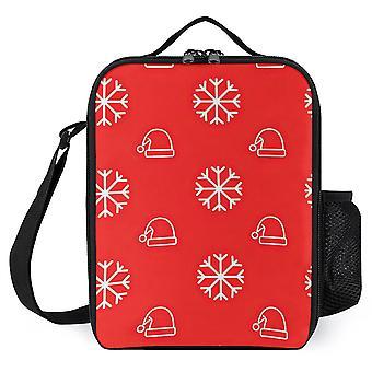 Snowflake And Santa Hat Printed Lunch Bags Women Kids