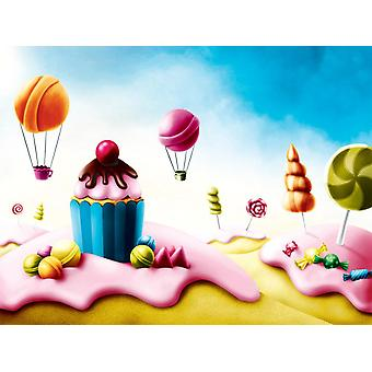 Fond d'écran Mural Fantasy Candyland with Cupcake and Bonbons (51594646)