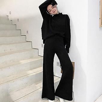 Genayooa Winter Tracksuit Pant Suits Knitted Long Sleeve Two Piece