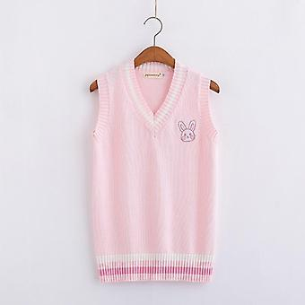Pink Small Rabbit Embroidery Pattern Sweater Vest High School Japanese-style