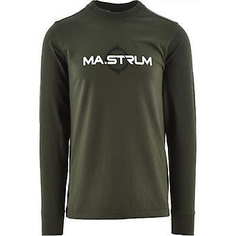 MA.STRUM Green Long Sleeve Logo Print T-Shirt