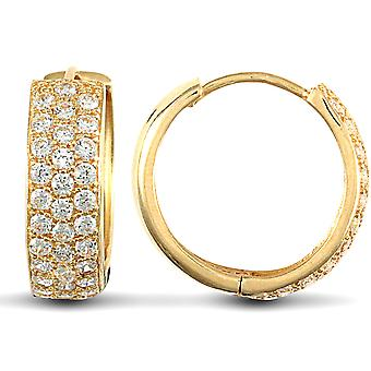 Jewelco Londyn Solid 9ct Yellow Gold White Round Brilliant Cubic Cyrkonia 3 Row Pave 5.3mm Huggie Hoop Kolczyki 16mm