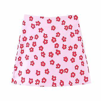 Mini Faldas Boho, Mujer de Cintura Alta, Falda de Satén Floral Corto, Una Línea