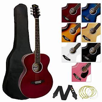 Tiger music full size acoustic guitar for beginners - red