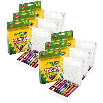 Crayones triangulares, 16 por caja, 6 cajas