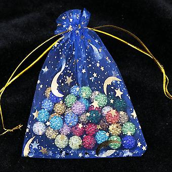100pcs/lot Moon Star Small Christmas Drawstring Charm Jewelry Packaging Bags &