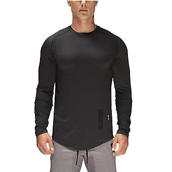 Sport Shirt, Men Long Sleeve Sport Top, Solid Crossfit T Shirt, Gym / Fitness