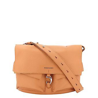 Orciani B02090softfard Women's Orange Leather Shoulder Bag