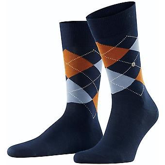 Burlington Manchester Socks - Ocean Blue/Orange