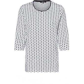 Olsen Navy & White Spot Print Top
