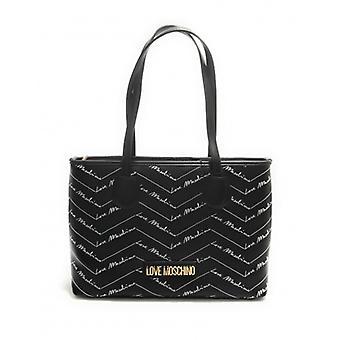 שקית אישה אהבה Moschino קניות Ecopelle שחור Multilogo B21mo95