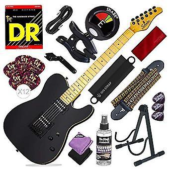 Guitare électrique Schecter pt (noir brillant) avec support de guitare, accordeur et ensemble d'accessoires de luxe