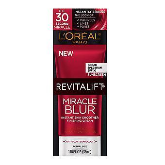 L 'Oreal Paris Hudpleje Revitalift Miracle Blur Instant Skin Smoother Primer, Facial Cream med SPF 30 Solcreme, Face Fugtighedscreme, 1,18 fl. oz.