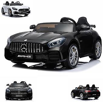 Kinder Elektroauto Mercedes GT R AMG, Zweisitzer, EVA-Reifen, Ledersitz, 2x 35W weiss
