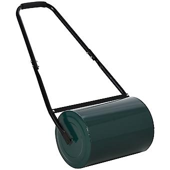 Outsunny 30 L Heavy Duty Water Or Sand Filled Φ32cm Garden Steel Lawn Roller Drum - Green