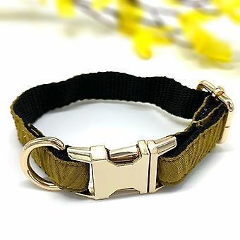 Mustard Houndstooth Collar & Bow Tie