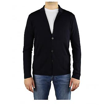 Roberto Collina Navy Blue Wool Knitted Jacket