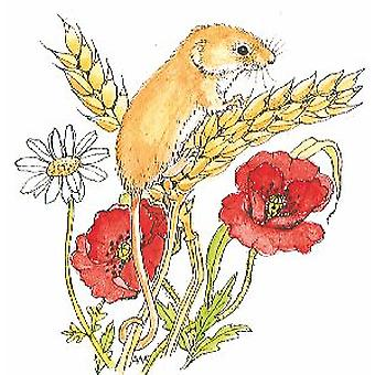 AW Harvest Mouse Wood Mounted Stamp