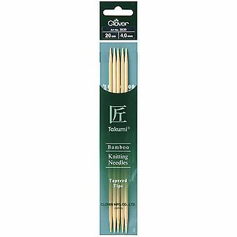 Clover Knitting Pins: Double-Ended: Set of Five: Takumi Bamboo: 20cm x 4.00mm