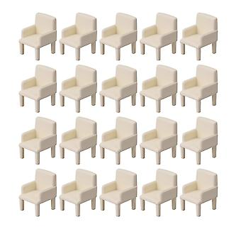 20pieces 1:50 Miniature Furniture Model Chairs Dollhouse Sofa Beige