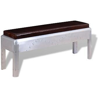 vidaXL bench in retro industrial design real leather 110 x 32 x 45 cm