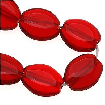 Vidrio checo 8 x 6mm Plano Liso Oval Rojo Rubí Oscuro (25)