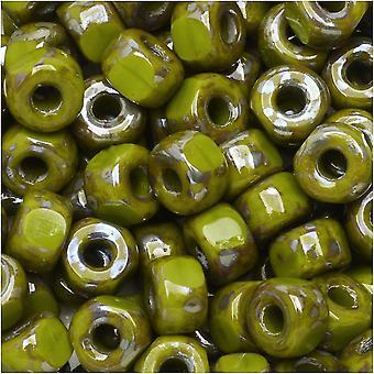 Tsjechische glazen matubo, tri-cut 2/0 zaad kraal, 20 gram buis, ondoorzichtige groene Rembrandt