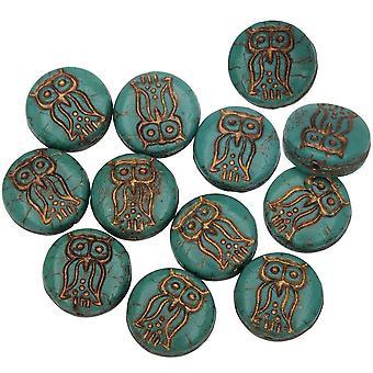 Tjeckiska glaspärlor, Uggla mynt 13,5mm, turkos grön ogenomskinlig, mörk brons, 1 Str, av Raven's Journey