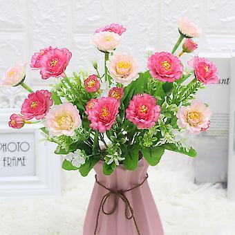 5pcs flores artificiales peonía decoración hogar flores secas regalo de flores falsas para las mujeres
