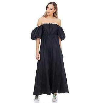 Maxi jurk met gepofte mouwen