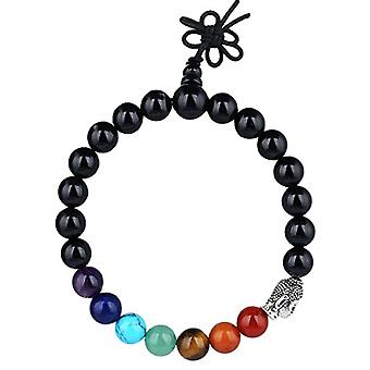 KYEYGWO 21 Mala bracelets with Chakra beads for men and women, unisex, with Reiki crystal stones and League, color: Agata Ref. 0715444069154
