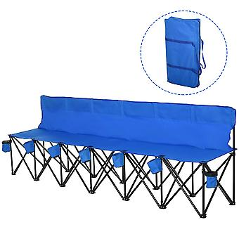 Outsunny Football 6 Seater Folding Sports Bench Outdoor Picnic Camping Portable Spectator Chair Steel Frame w/ Cup Holder & Carry Bag - Blue