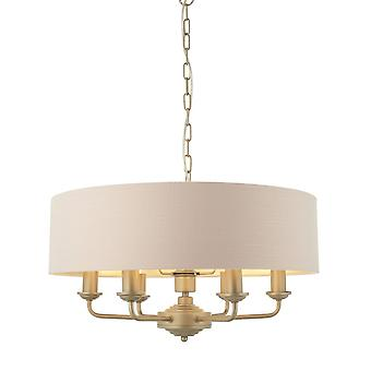 Endon Lighting Highclere Six Light Pendant In Champagne With Blush Pink Shade