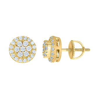 925 Sterling Silver Yellow tone Mens Cubic zirconia Flower Stud Earrings Jewelry Gifts for Men