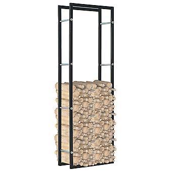 vidaXL Ripiano legna da ardere Nero 50 x 20 x 150 cm Acciaio
