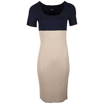 Isabel De Pedro Beige & Navy Blue Block Colour Short Sleeve Pencil Dress