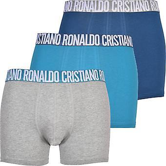 CR7 3-Pack Cristiano Ronaldo Logo Boxer Trunks, Blue Mix/Grey