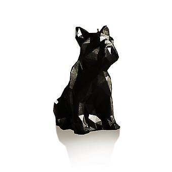 Musta metallinen matala polybulldog-kynttilä