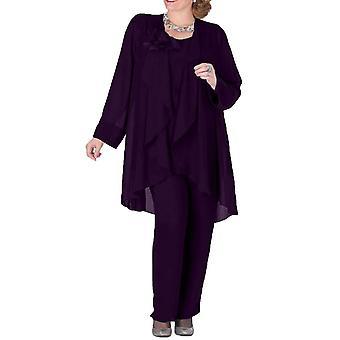 Mutter der Braut Kleid Hose Anzug 3 Stück mit Jacke Outfit Lange Ärmel (