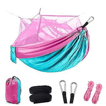 Camping Hammock With Mosquito/bug Net, Portable Parachute Nylon Hammock For Camping(Pink Blue)