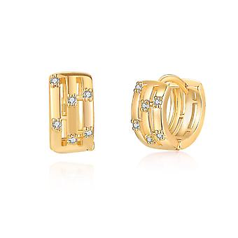 Ear Studs Geometric Golden Micro Inlaid Ear Clips Earrings For Party