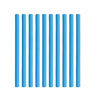 10pcs No Heat No Electricity Simple Flexible Hair Curling Rod Stick Fashion Hair Curler(Blue)