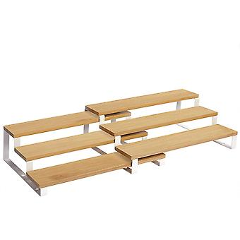 Gewürzregale, Küchenregale, 2er Set, mit je 3 Ablagen, Bambus, ausziehbar, stapelbar, für