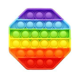 Silikon Regenbogen Extrusion Fidget Spielzeug Octagon Push Pop Bubble Stress Relief Spielzeug
